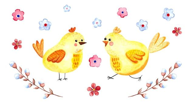 Aquarell-osterillustration mit osterhühnern, blumen und weidenzweigen