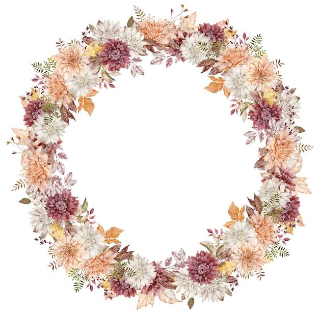 Aquarell purpurroter, weißer und orangefarbener asternkranz. herbstblumenkreisrahmen. herbstschablone lokalisiert auf dem weißen hintergrund.
