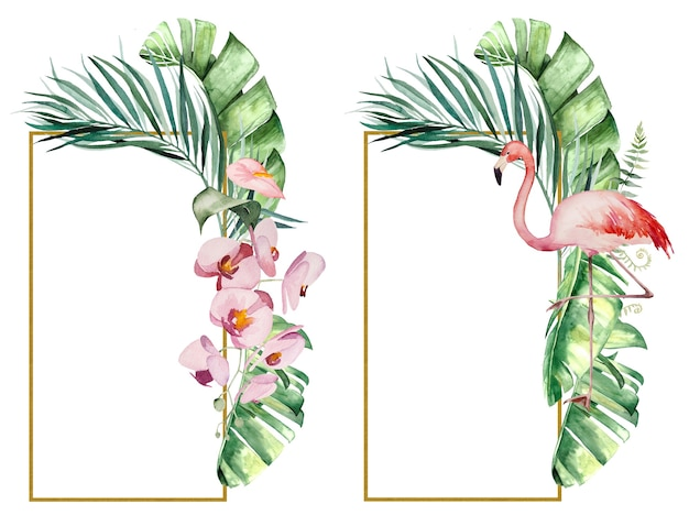 Aquarell rosa flamingo, tropische blätter und blumen rahmen isolierte illustration für hochzeit stationär, grüße, tapeten, mode, poster