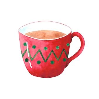 Aquarell rote tasse clipart auf weißem hintergrund. helle weihnachtstasse mit kaffee, kakao, tee. ornament teetasse des neuen jahres. gemütlicher herbst, winterillustration.