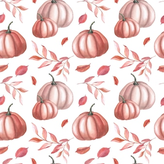 Aquarell roter kürbis und braune herbstblätter auf weißem hintergrund. garten nahtlose muster. aquarellillustration von gemüse für thanksgiving. botanische kunst für druck, textil, stoff, geschenkpapier