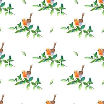 Aquarell-rotkehlchenvogel im realistischen stil auf einem ast mit grünen blättern