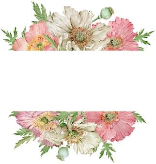 Aquarell schöner rosa und beige mohnblumenrahmen auf weißem hintergrund