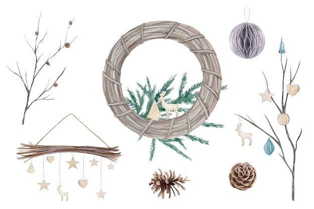 Aquarell-set mit weihnachtsdekor im skandinavischen stil