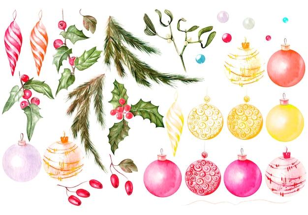 Aquarell-set mit weihnachtsspielzeug und weihnachtsbaum