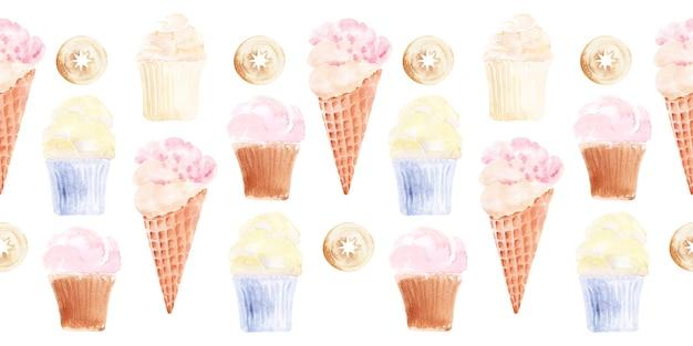 Aquarell-set nahtloser ränder mit cupcakes, eis und kuchen