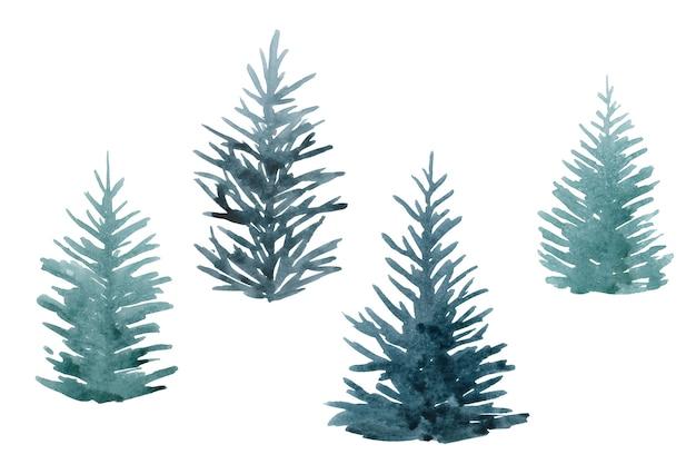 Aquarell-set weihnachtsbäume