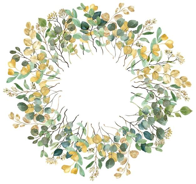 Aquarell sommergrün gelber und grüner eukalyptuszweige runder rahmen auf weißem hintergrund