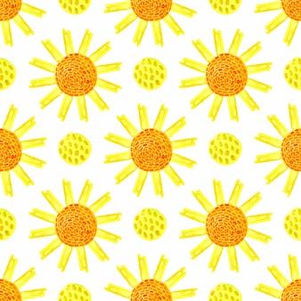 Aquarell sonnig nahtlose muster. handbemalung saisonal. kann für die verpackung, textil-, tapeten- und verpackungsgestaltung von naturprodukten verwendet werden
