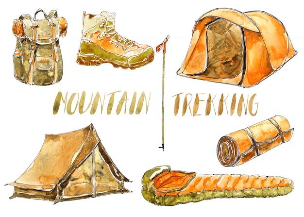 Aquarell sport- und campingausrüstung