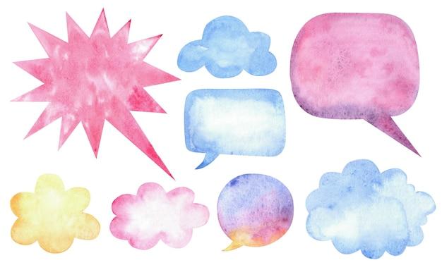 Aquarell-sprechblasen mit flecken und papierstruktur.