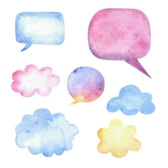 Aquarell-sprechblasen und wolken mit flecken und papierstruktur and