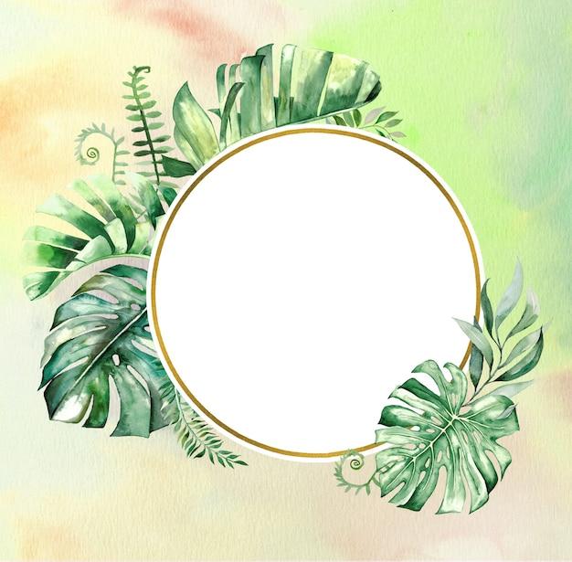 Aquarell tropische blätter geometrische goldene rahmenillustration mit aquarellhintergrund