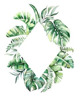 Aquarell tropische blätter geometrischen goldenen rahmen