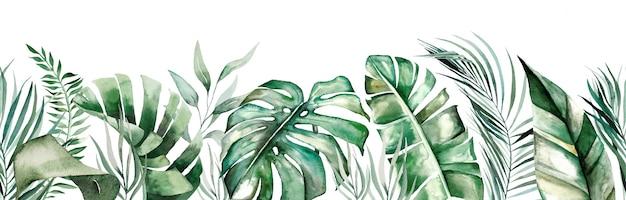 Aquarell tropische blätter nähte grenze isoliert