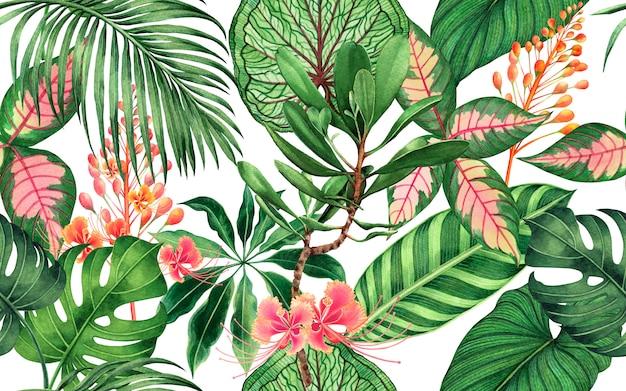 Aquarell tropische blätter nahtlosen musterhintergrund