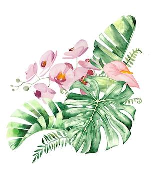 Aquarell tropische blumen und blätter bouquet