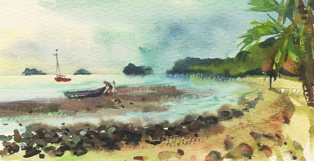 Aquarell tropische seelandschaft mit fischer und boot. hand gezeichneter natürlicher hintergrund.
