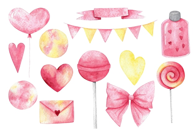 Aquarell valentinstag clipart set.