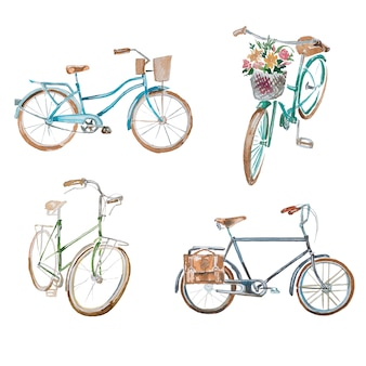 Aquarell vintage fahrräder