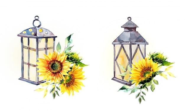 Aquarell vintage laterne mit sonnenblumenanordnungen isoliert
