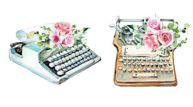 Aquarell vintage schreibmaschine mit blumen designs. retro typ maschinenillustration. schriftsteller liefert.