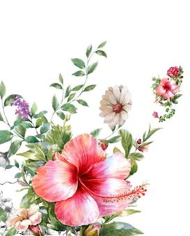 Aquarell von blättern und blüten,