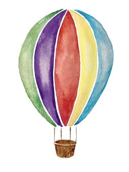 Aquarell von regenbogenfarbenem heißluftballon isoliert auf weißem hintergrund