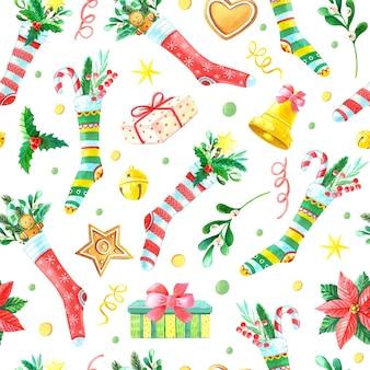 Aquarell weihnachten nahtloses muster