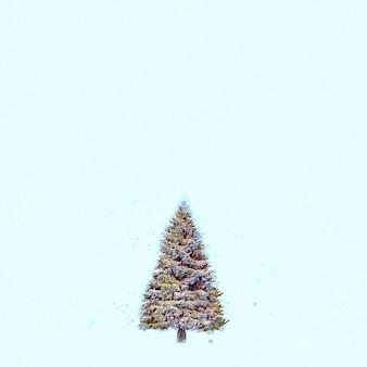 Aquarell weihnachtsbaum, hellblauer hintergrund. frohe weihnachten und ein glückliches neues jahr-banner, kopienraum. konzept-geschenkkarte, banner, urlaubsplakat, cover