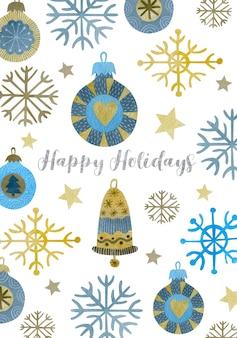 Aquarell weihnachtsillustration neujahr frohe feiertagsgrußkarte