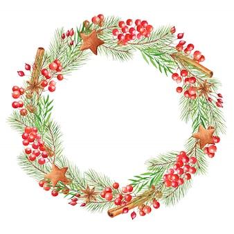 Aquarell-weihnachtskranz mit beeren, tannenzweigen, zimtstangen und lebkuchen. festlicher runder rahmen lokalisiert auf einem weiß