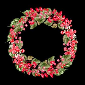 Aquarell-weihnachtskranz mit hüften von heckenrosenzweigen