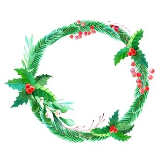 Aquarell weihnachtskranz.