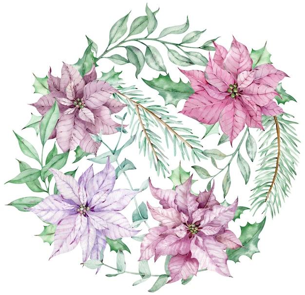 Aquarell-weihnachtskreisstrauß mit rosa und violetten weihnachtssternblumen, eukalyptus- und tannenzweigen. neujahrswinterkarte lokalisiert auf dem weißen hintergrund.