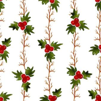 Aquarell-weihnachtsnahtloses muster mit mistel. kann für die verpackung, textil- und verpackungsgestaltung verwendet werden