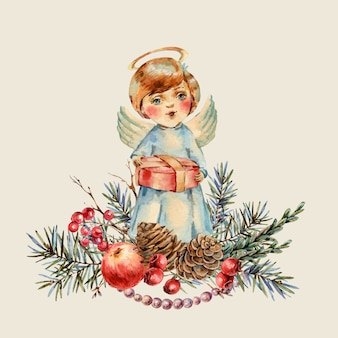 Aquarell-weihnachtsnetter junge mit einem geschenk in seinen händen singt ein weihnachtslied. tannenzweige, roter apfel, beeren, tannenzapfen, botanische illustration der weinlese