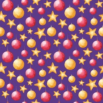 Aquarell weihnachtsspielzeug nahtlose muster neujahr dekorationen drucken auf lila hintergrund