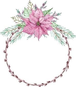 Aquarell weihnachtsstern weihnachtskranz mit tannenzweigen. kreis winterrahmen. neujahrsblumenkarte lokalisiert auf dem weißen hintergrund.