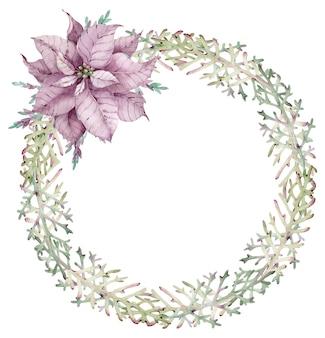 Aquarell-weihnachtswacholderkranz mit violetter weihnachtssternblume.