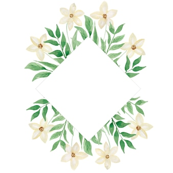 Aquarell weiße wildblumen und grüne blätter rahmen. moderne grüne laubrahmenillustration. hochzeitseinladungskarte. hand gezeichnete frühlingsweiße blumen- und blattanordnung. hochzeitsdekor.