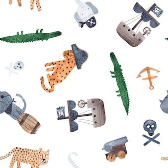 Aquarell-wiederholungsmuster mit katze, leopard, elefant, krokodil, kanone, anker und piratenschiff. kindliches nahtloses muster.