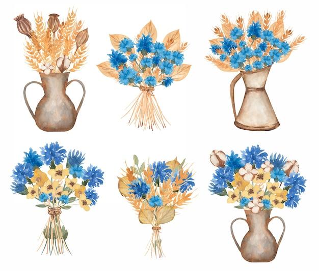Aquarell wildblumen clipart, kräuter blumenstrauß clipart, herbarium in vase, wiese blume diy, blaue blumen blumenstrauß, hochzeitseinladung