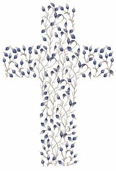 Aquarell wildblumen kreuz clipart, blaue blumen kreuz, wiese blumenrahmen, taufe feldblumen kreuze, hochzeitseinladung, religiöse kartenherstellung, heiliger geist