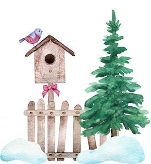 Aquarell winter komposition. ein roter vogel, der auf dem vogelhaus sitzt, regelte auf dem zaun, der nahe einem grünen baum steht.
