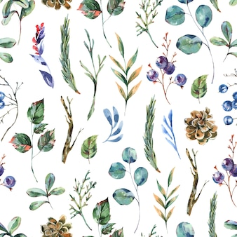 Aquarell winterblumen nahtloses muster