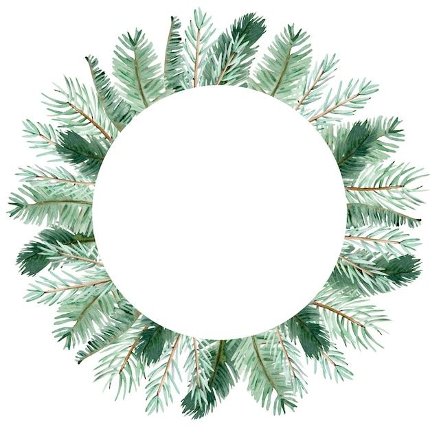 Aquarell wintergrünkiefernzweigkranz. hand gezeichnete weihnachtszweiggrünzweigschablone lokalisiert auf dem weißen hintergrund.