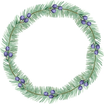 Aquarell winterkiefernzweige und blauer beerenkranz. weihnachtsferienrahmen. neujahrskartenschablone lokalisiert auf dem weißen hintergrund.