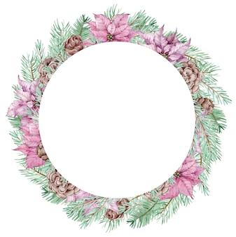 Aquarell winterkiefernzweigkranz mit weihnachtssternblumen und tannenzapfen. weihnachtskreisrahmen