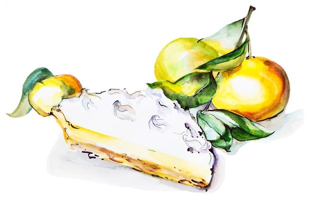 Aquarellabbildung der scheibe orangen- oder aprikosentorte, kuchenstück mit früchten,